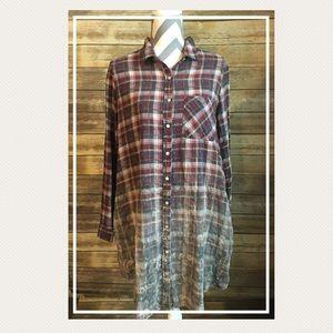 Ombré Style Button Down Shirt Dress